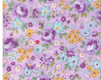 HALF YARD Yuwa - Floral and Tiny Strawberries on PURPLE - 8266445-E Atsuko Matsuyama 30s collection - Rose, Daisy, Flower