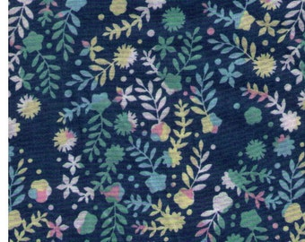 HALF YARD Yuwa - Wild Flower Delight on Green/Teal by Anyan - Lawn Cotton - Flower, Floral, Botanical  - Cotorienne Japanese Fabric
