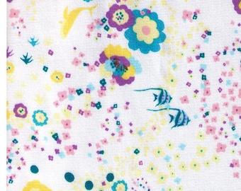 HALF YARD - Kayo Horaguchi - Angelfish, Dolphins and Underwater Blooms on WHITE Background - Sateen - Kiyohara Imported Japanese Fabric