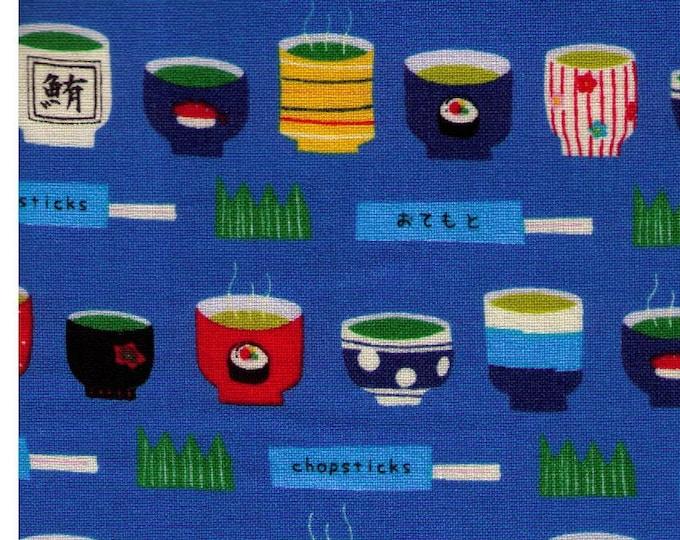 HALF YARD Lecien - Food Land - Ramen Bowls, Green Tea,  and Chopsticks on BLUE - 40904-70 - Cotton Japanese Import Roll, Fish, Sashimi, Roe