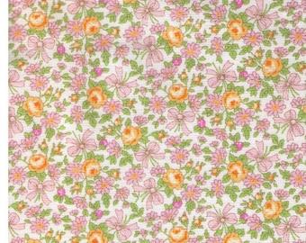 HALF YARD Yuwa - Ribbon Bouquet Yellow and Light Pink - Atsuko Matsuyama 826364-D - Tiny Ribbons, Roses, Daisies, Bows  - Japanese Fabric