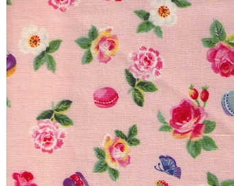 HALF YARD - Yuwa - Roses and Macarons on PINK SK825432-B - Sobakasu-Kids - Butterflies, Butterfly
