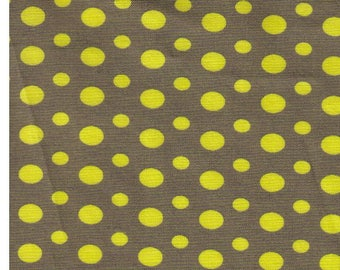 HALF YARD Yuwa - Chartreuse Ovals and Dots on OLIVE Green 826270-D  - Suzuko Koseki - Japanese Import Fabric