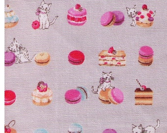 HALF YARD Yuwa - Kittens Frolicking in Pastries on GREY - Macaron, Cake, Palmier - Cotton Oxford - Japanese Import Fabric