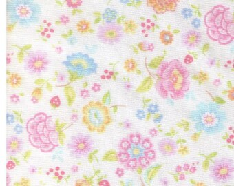 HALF YARD Yuwa - Petite Retro Pastel Floral on White - 6534 E Atsuko Matsuyama - Flower, Bud, Bouquet, Wild Flower  Japanese Import
