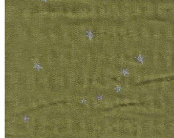 Half Yard - Project By Cotton - Silver Metallic Stars on OLIVE GREEN - KTS6318O - Japanese Import Double Gauze - Kobayashi