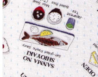 HALF YARD Lecien - Food Land - Japanese Dinner on WHITE - 40905-10 - Cotton/Linen Blend - Udon, Tonkatsu