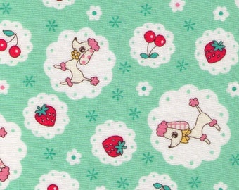 HALF YARD Yuwa - Poodle, Strawberries and Cheeries on Mint GREEN - 826443-B Atsuko Matsuyama 30s collection - Japanese Import