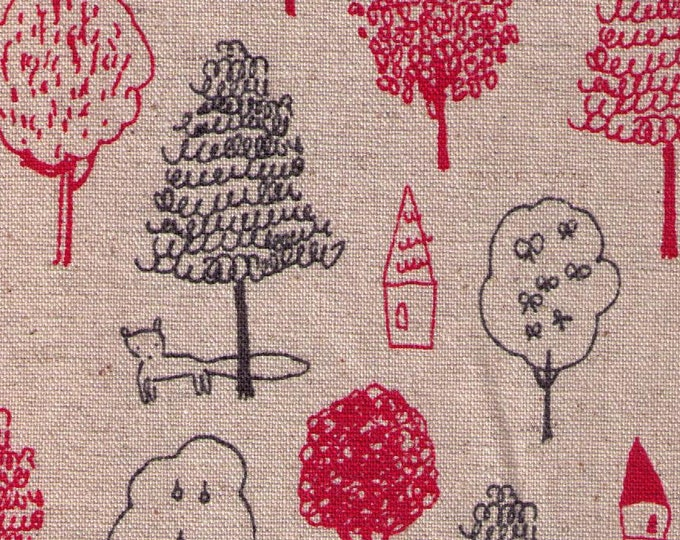 HALF YARD Yuwa - Forest Drawing and Fox on Natural - Megumi Sakakibara Collection 1802-B - Cotton Linen Canvas - Line Drawing - Japanese