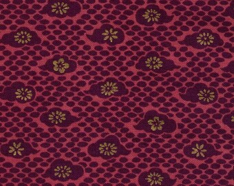 HALF YARD Quilt Gate - Hyakka Ryoran Modern Movement 2 - Plum Red Floral with Metallic Gold - HR3230-15C Traditional Japanese Import