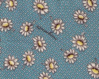 HALF YARD Yuwa - White Daisies on Blue Basket Weave - Suzuko Koseki SZ826434-D - Japanese Import Fabric - Floral, Flower