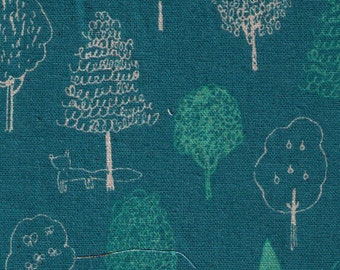 HALF YARD Yuwa - Forest Drawing and Fox on Teal Green - Megumi Sakakibara Collection 1802-D - Cotton Linen Canvas - Line Drawing - Japanese