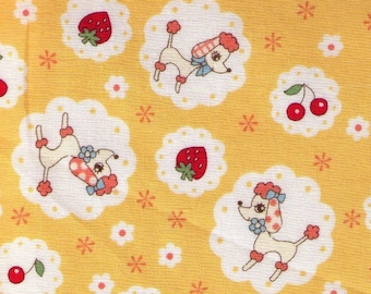 HALF YARD Yuwa - Poodle, Strawberries and Cheeries on YELLOW - 826443-C Atsuko Matsuyama 30s collection - Japanese Import