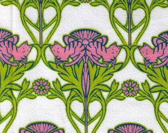 HALF YARD Hokkoh - Art Nouveau Cats Green and Pink - 301-220-1A - Cotton Crepe - Japanese Import