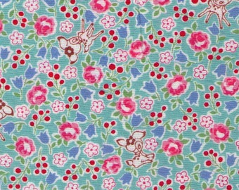 HALF YARD Yuwa - Tiny Deer and Flowers on Blue - Atsuko Matsuyama AT826389-B - Japanese Import Fabric