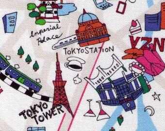 HALF YARD Yuwa -Tokyo Map - Japanese Landmarks and Sites in BRIGHT 15030-C - Ueno, Shibuya, Skytree, Shinjuku - Travel, Map - Cotton Oxford