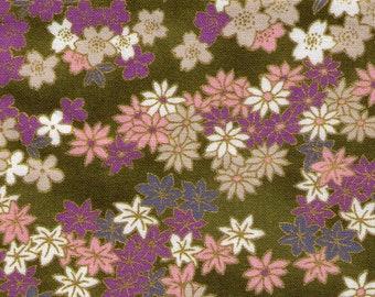 HALF YARD Quilt Gate - Hyakka Ryoran Chiyagami Collection - Sakura Flowers on Green with Gold Metallic - Asanoha, Seigaiha - HR 3200-11D