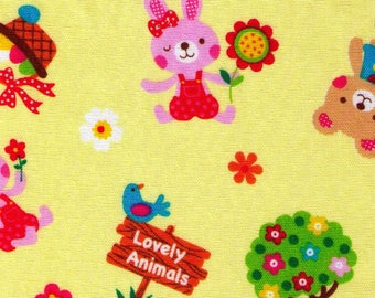 """End of Bolt - 13"""" Cut - Lovely Animals on Yellow - Bunny, Rabbit, Easter Basket, Bear, Bows, Flower - Japanese Import"""