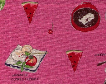 HALF YARD Lecien - Food Land - Japanese Desserts and Confections on PINK - 40906-20 - Cotton/Linen Blend - Green Tea, Watermelon, Cream