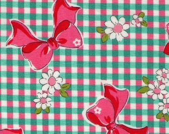 HALF YARD Yuwa - Spring Green Gingham Pink Bows with White Daisies 826155-E - Atsuko Matsuyama 30s collection - Daisies -  Japanese Import