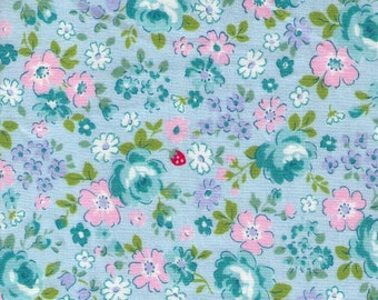 HALF YARD Yuwa - Floral and Tiny Strawberries on BLUE - 826445-C Atsuko Matsuyama 30s collection - Rose, Daisy, Flower