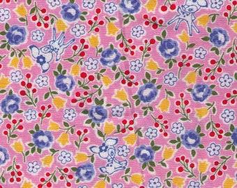 HALF YARD Yuwa - Tiny Deer and Flowers on Pink - Atsuko Matsuyama 826389-A - Japanese Import Fabric