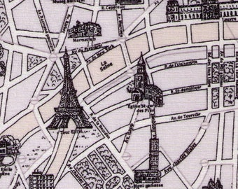 "End of Bolt - 16"" Cut - Lecien - Mrs. March's Collection 31528-90 - Map of Paris Landmarks and Streets Black on Grey - Eiffel Tower, Museum"