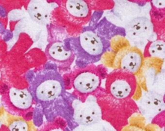 HALF YARD - Stuffed Animals in Pink/Purple/Yellow - H6867-A - Teddy Bear, Plushy, Toy - Japanese Import