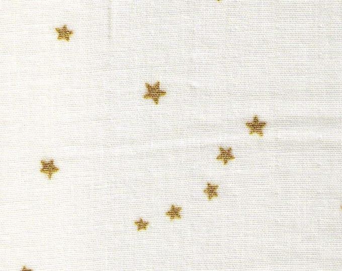 Half Yard - Project By Cotton - Gold Metallic Stars on CREAM - KTS6318WG - Japanese Import Double Gauze - Kobayashi