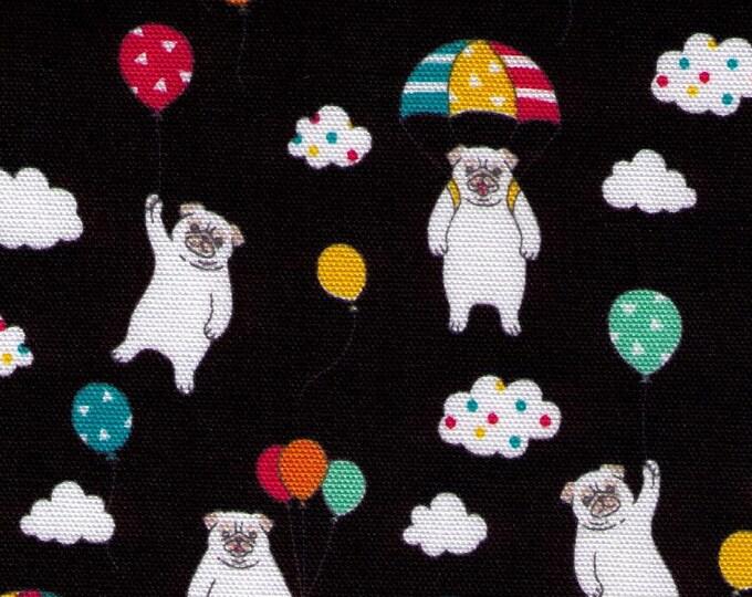 HALF YARD - Westex - Parachuting Pugs on BLACK WS28047-1E - Oxford - Balloon, Cloud, Dog