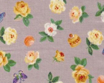 HALF YARD - Yuwa - Roses and Macarons on GREY SK825432-C - Sobakasu-Kids - Butterflies, Butterfly