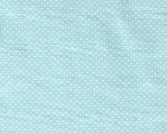 HALF YARD - Lecien - Color Basic - 4503-LL Light Aqua Blue with White Ultra Mini Dots - Japanese Import Fabric