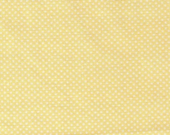 HALF YARD - Lecien - Color Basic - 4503-Y  YELLOW  with White Ultra Mini Dots - Japanese Import Fabric