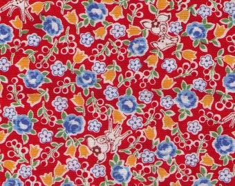 HALF YARD Yuwa - Tiny Deer and Flowers on Red - Atsuko Matsuyama 826389-D - Japanese Import Fabric