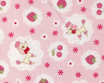 HALF YARD Yuwa - Poodle, Strawberries and Cheeries on PINK - 826443-A Atsuko Matsuyama 30s collection - Japanese Import