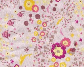 HALF YARD - Kayo Horaguchi 13Grey - Angelfish, Dolphin Underwater Blooms on STONE Background - Sateen - Kiyohara Imported Japanese Fabric