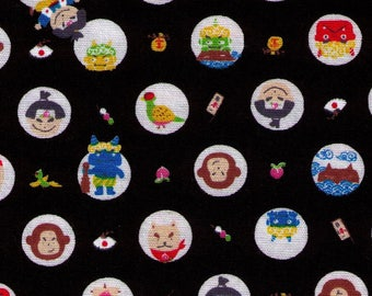 HALF YARD Westex - Tale of Momotaro on BLACK - Peach, Dog, Pheasant, Monkey, Ogre - Japanese Import