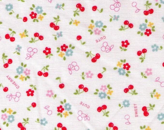 HALF YARD Yuwa - Sweet Tiny Red Cherries and Daisies on WHITE - 8266444-D Atsuko Matsuyama 30s collection - Japanese Import