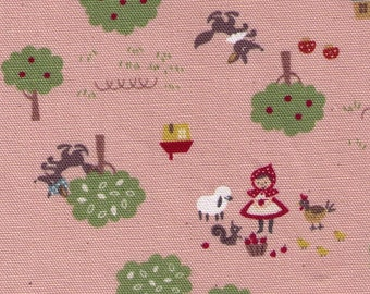 HALF YARD Kokka - Trefle Little Red Riding Hood on PINK - Wolf, Toadstool Patchwork - Cotton Oxford - Japanese Imported