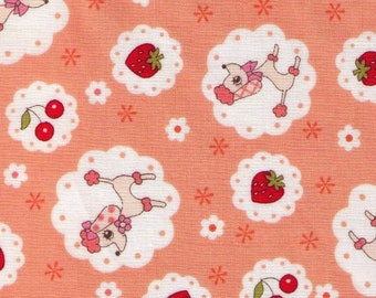 HALF YARD Yuwa - Poodle, Strawberries and Cheeries on ORANGE - 826443-D Atsuko Matsuyama 30s collection - Japanese Import