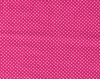 HALF YARD - Lecien - Color Basic - 4503-P Bright Pink with White Ultra Mini Dots - Japanese Import Fabric