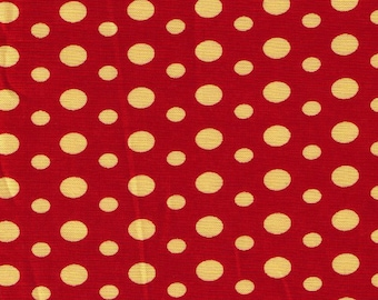 """End Bolt 42"""" Yuwa - Marigold Ovals and Dots on RED  826270-A - Suzuko Koseki - Japanese Import Fabric"""