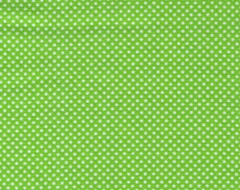 HALF YARD - Lecien - Color Basic - 4503-G  GREEN with White Ultra Mini Dots - Japanese Import Fabric