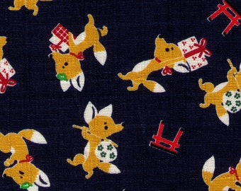 HALF YARD Cosmo - Tanuki and Packages on NAVY - Cotton Dobby - Ap-75302-1D - Japanese Import