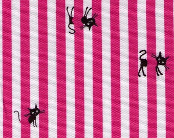 HALF Yard - Kokka - Coco Land Kitties with Pink Stripes - 10002-20A cocoland - Cotton Oxford - Japanese Import