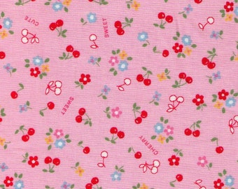 HALF YARD Yuwa - Sweet Tiny Red Cherries and Daisies on PINK - 826444-A Atsuko Matsuyama 30s collection - Japanese Import