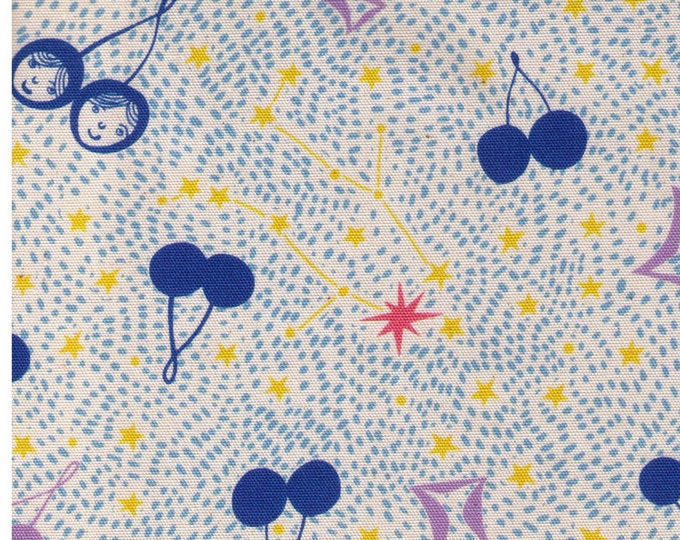 HALF YARD - Gemini Constellations and Cherries BLUE and Purple - Twin Faces on Cherry, Yellow Stars - Polka Dots