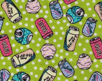 "End of Bolt 23"" Cut - Soda Cans on Lime Green with White Polka Dots  15023-F - Fashion, Sweet Heart, Love, - Cotton Oxford - Japanese"
