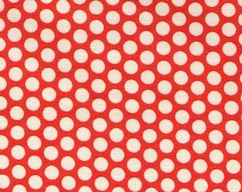 HALF YARD Yuwa Fabric - Cream Kei Honeycombs on Orange - Colorway 107 - Polka Dots by Kei - Japanese Import Fabric