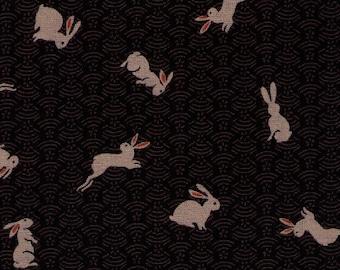 HALF YARD Bunny on Seigaiha Black - 88227-45 Traditional Geometric Japanese Design - Rabbits on Waves, Weave